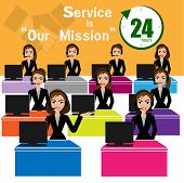 Vector of Call Center for best service concept