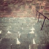 Stone Steps Leading To The Tiled Square