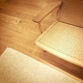 Rattan Chair On Wooden Floor