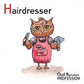 Alphabet professions Owl Letter H - Hairdresser character on a white background Vector Watercolor.