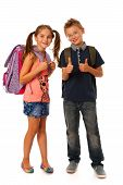 Choolboy And Schoolgirl With Schoolbags Isolated Over White Background