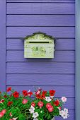 Mailbox On Wooden Background With Flowers