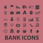 bank, money black icons, signs, illustrations set, vector