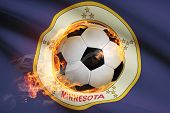 Soccer Ball With Flag On Background Series - Minnesota