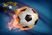 Soccer Ball With Flag On Background Series - Nevada