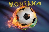 Soccer Ball With Flag On Background Series - Montana