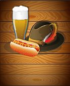 Beer Glass, Hot Dog And  Oktoberfest Hat