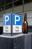 Car Park Sign And Beer