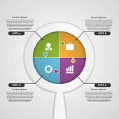 Abstract infographic chart with a magnifying glass.