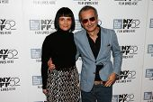 NEW YORK-OCT 8: Juliette Binoche (L) & director Olivier Assayas attend the