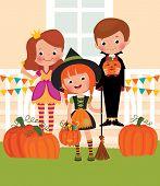 Children In Celebration Of Halloween On The Doorstep