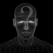 Concept or conceptual 3D wireframe human male man question ask head isolated on black background