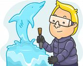 Illustration Featuring a Man Making an Ice Sculpture