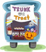 Illustration Featuring the Trunk of a Car Decorated for Halloween