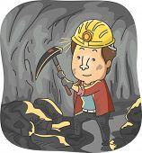 Illustration Featuring a Man Mining Coal