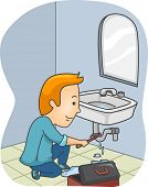 Illustration Featuring a Plumber Fixing a Leaking Pipe