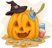 Illustration Featuring a Jack-o'-Lantern Being Painted