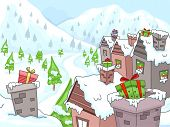 Illustration Featuring a Morning Scene in a Christmas Village