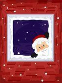 Frame Illustration Featuring Santa Peeking From the Window