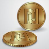Vector illustration of gold coins with Israeli Sheqel currency sign