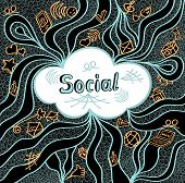 Abstract social cloud in doodle style on black background