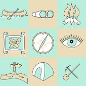Vector set of travel and camping icons