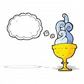 cartoon goblet with thought bubble