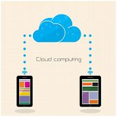 Flat Cloud Technology Computing Background Concept. Data Storage Network Sever Internet Technology