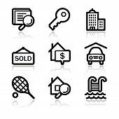 Black contour real estate web icons V2
