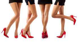 pic of mini-skirt  - Sexy women legs in black mini skirt and red high heel shoes - JPG