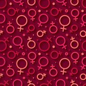 Seamless pattern with the female gender symbol