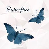 Vector butterflies blue geometric.