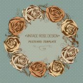 Vintage rose background. Floral wreath. Vector greeting card