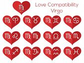 Love Compatibility - Virgo. Astrological Signs Of The Zodiac. Vector Set Of Flat Thin Line Icons