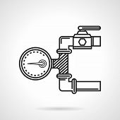 picture of manometer  - Black flat line vector icon for dial of manometer on pipeline on white background - JPG