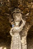 image of gaudi barcelona  - A statue in the Guell Park  - JPG