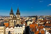 image of red roof tile  - view on the red tiled roofs of Prague - JPG