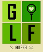 Postcard. Golf. Vector Labels. Background. Golf Philosophy. Love Golf