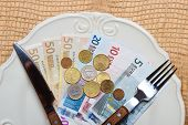 Euro Money On Kitchen Table, Coast Of Living