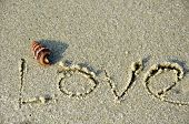 picture of shells  - Written love word on the beach - JPG