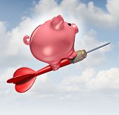 picture of budget  - Budget goal and financial advice business concept as a piggybank character riding a red dart as a financial success symbol for managing finances and savings - JPG