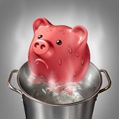 picture of save water  - Financial heat business concept as a piggybank in a pot of hot boiling water as a symbol for money problems and budget savings stress and finance anxiety - JPG