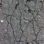 Old Aged Weathered Cracked Tarmac Texture, Large Detailed Damaged Textured Asphalt Grungy Background