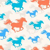 stock photo of new year 2014  - New Year seamless background with blue and orange running horses - JPG