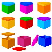 Collection of colorful box christmas gifts. Vector illustration.