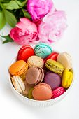 Colorful macaroons in a bowl