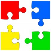 Four colored puzzle pieces on white background. Vector illustrat