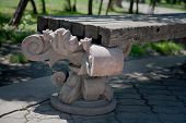 Old Wooden Bench In The Summer Park