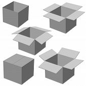 five boxes, isolated on white background. Vector illustration.