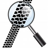 Magnifying glass icon, trail tires. Vector illustration